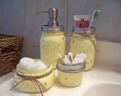 Painted Mason Jar Bathroom Set. Painted and distressed mason jars, rustic bathroom decor.