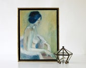 Sitting Still - Vintage Oil Painting - Signed - Nude - Home Decor - Neutral - Wall Hanging - Framed - Art