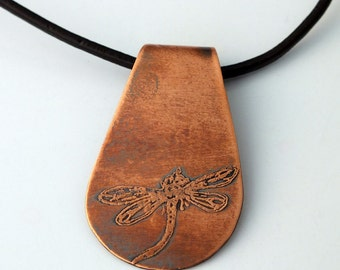 Copper Dragonfly Necklace, Raindrop Pendant