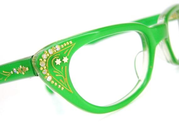 Vintage Green Cat Eye Glasses Sunglasses by Vintage50sEyewear