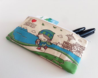 I Heart Seattle Small Canvas Zipper Pouch