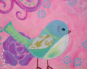 SALE Whimsical Bird Painting, Baby Girl Nursery Decor, Whimsical Bird, Original 8x8 Canvas, Pink, Purple, Light Blue, Green
