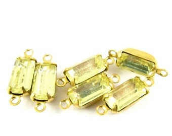 Vintage Glass Octagon Stones Brass Prong Settings 10x5mm Jonquille - 6