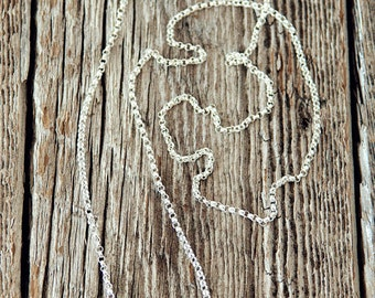 """1.5mm Sterling Silver Rolo Chain Necklace, Sterling Silver Necklace, 16"""" Sterling Silver Chain, 18"""" Sterling Silver Chain, 20"""" Silver Chain"""