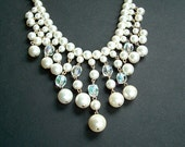 Vintage Faux Pearl Crystal Bridal Jewelry Fringe Cream White Beaded Necklace