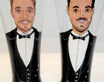 Set of Two - Groomsmen Gifts-Personalized Beer Glasses (2 glasses) hand painted to their likeness unique Groomsman, Groom. Father Gift