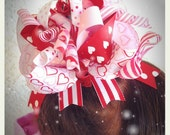Over The Top Red and Pink VALENTINES Festive Hair Bow - School Bow, Holidays Hairbow, Large Hairbow, Winter Bow, Girl Gift