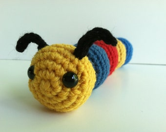 Amigurumi Crochet Caterpillar Plush Toy - Red, Blue and Yellow Nursery Decor Gift Under 25 Caterpillar Plushie Kawaii Caterpillar