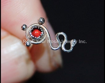 Sterling Nose Stud - Encirle Me - Unique Sterling Silver and Garnet Nose Art - CUSTOMIZE