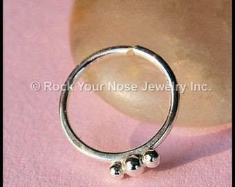 Silver Nose Ring / Seamless Nose Hoop / Unique Nose Ring / Rock Your Nose / - CUSTOMIZE