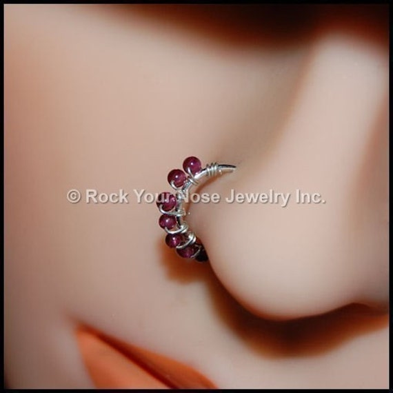 Sterling and Garnet Catchless Nose Hoop - CUSTOMIZE