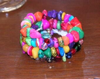 Fiesta Bracelet Multi Colors on Memory Wire