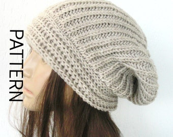 Brioche Beret Knitting Pattern : Instant Download Knit hat pattern- Digital Hat Knitting PATTERN PDF - Brioche...