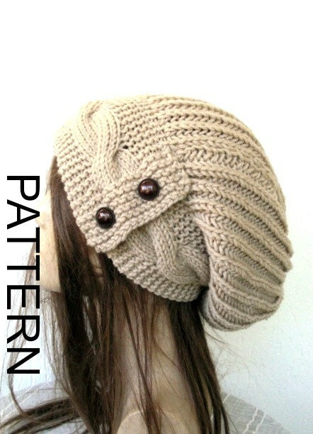 Knitting Pattern Hat Ladies : knitting pattern hat instant download womens hat pattern by