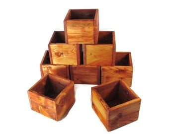 Event Decor - 8 Small Wood Boxes for Favors or Centerpieces - Weddings, Events, or Garden