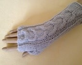 Fingerless Gloves Arm Wrist Warmers, Fog (silver grey), Luxury Hand Knitted Soft Merino Wool Mittens 18 Colours