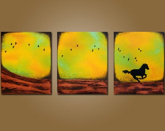 Running Away -  48 x 20, Textured, ORIGINAL, Contemporary Abstract Bird Horse PAINTING Art - Ready to Ship