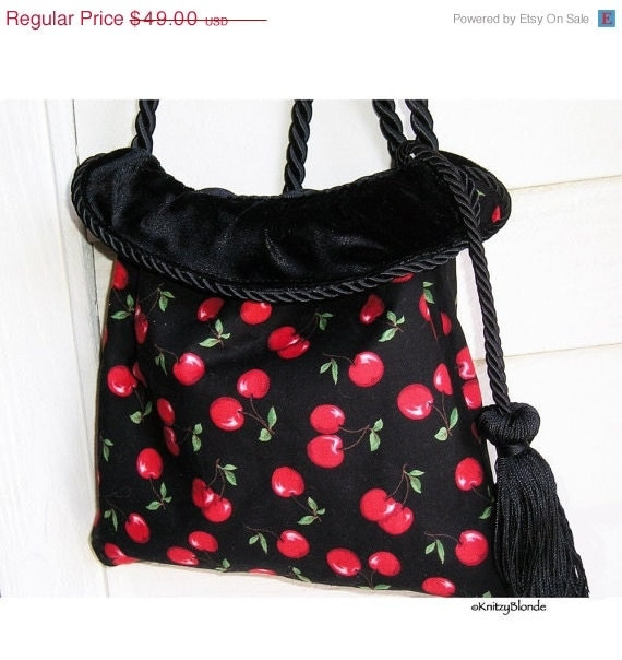 CLEARANCE 30% off - Vintage Style Reversible Handbag Retro Cherries Print and Black Velvet