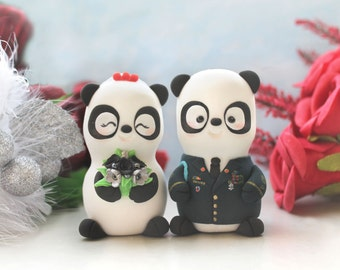 Wedding cake toppers Military Panda - US Army dress blue jacket uniform- bride groom figurines personalized unique gift red silver decor
