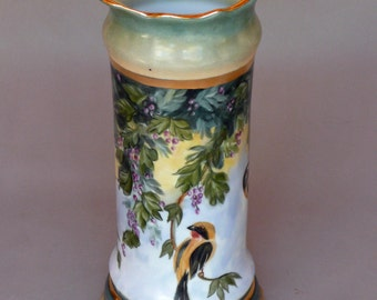 Hand Painted Bird and Berry Vase