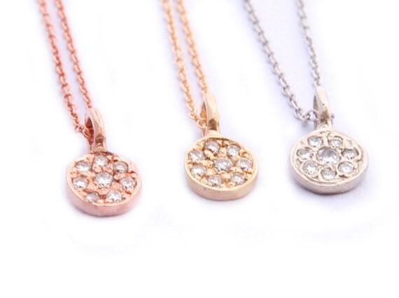 Pave Diamond Pendant,  Florette Charm, 14K Gold Diamond Necklace, Diamond Charm, Gold Charm.