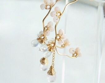Cherry Blossom Earrings, Rose Quartz Earrings, Sakura Japanese Jewelry, Bridal Wedding