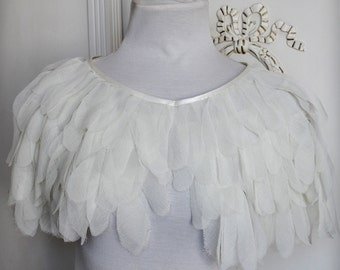 SWAN LAKE Cape, Wedding, ON Sale, Chiffon Feathers Capelet, Shawl, Caplet, Free Shipping, Odette, Spring Summer, Bohemian,TianaCHE