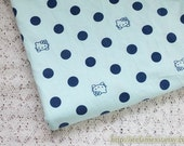 SALE Clearance Lovely Hello Kitty Cat Polka Dots On Pale Mint - Modal Knit Jersey Cotton Fabric (1/2 Yard, 17.7x59 Inches)