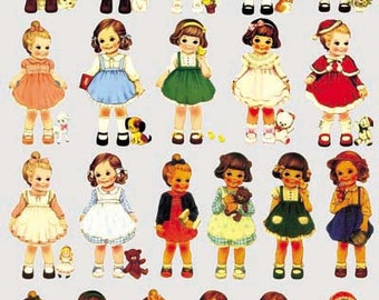 Offset Printing Iron On Transfer - Retro Paper Dolls Girls Collection (1 Sheet)