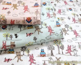 Japanese Cotton Fabric-French Style Petit Animal Bunny and Bear In The Woods (Fat Quarter)