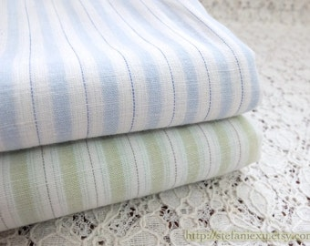 Simple Neat Green Blue Stripe Lines - Japanese Muji Style Summer Thin Cotton Fabric(1/2 Yard)