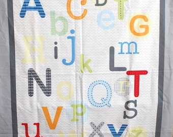 Lovely Kids Colorful Letters Alphabet On Grey- US Cotton Fabric (1 Panel, 39x43 Inches)