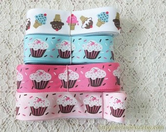 Grosgrain Gift Ribbon - Printed Sweet Pink Blue Cupcakes and Ice Cream, Choose Color (W2.5CM, 1 Yard)