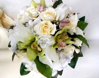 Bridal Beach Bouquet White Gardenias green Orchids Destination wedding Flowers Seashell AmoreBride wedding accessories bokay boutonniere set