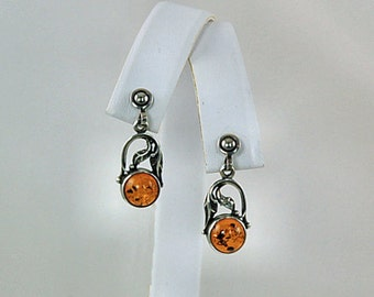 Vintage Baltic Amber Post Sterling Silver Earrings - Honey Amber Jewelry