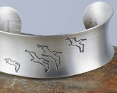 Pelican Bracelet, Pelican Cuff, Pelican and Palm Tree Jewelry, Eco Friendly Sterling Silver Cuff, Brushed Metal Cuff