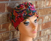 Vintage 60s1960s Mod Multicolored Beaded Tuban Topper Pillbox Hat 22
