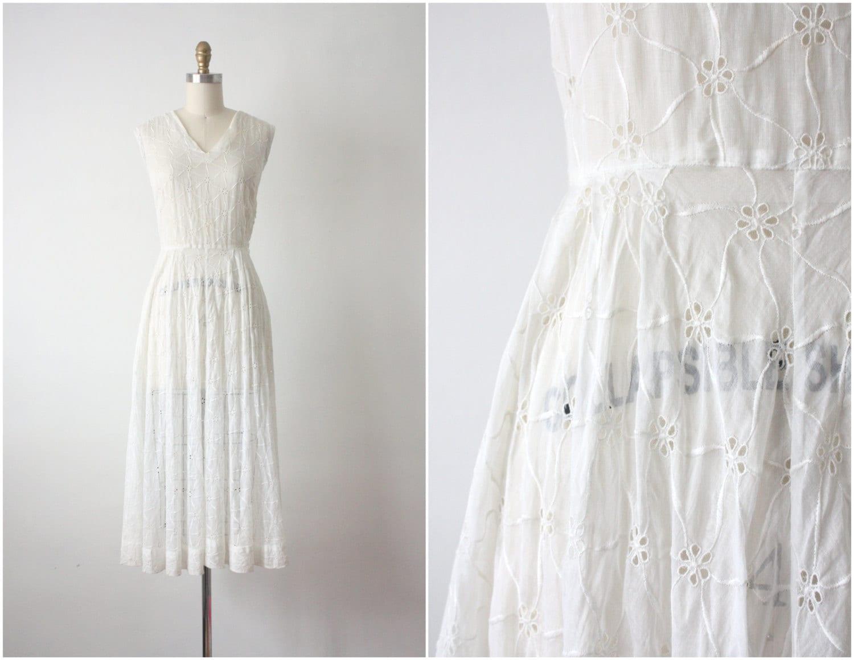 1950s Dress White Eyelet Dress 50s Wedding By 1919vintage