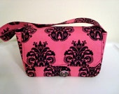 """20% OFF Large 4"""" Size Fabric Coupon Organizer Holder Box- Attaches to your Shopping Cart Hot Pink with Black fleur-de-lis  Choose Your Size"""