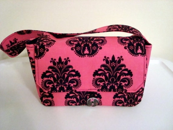 Super Size Fabric Coupon Organizer Holder Box- Attaches to your Shopping Cart  / Hot Pink with Black fleur-de-lis  CHOOSE YOUR SIZE