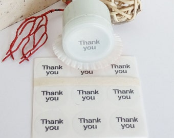 Clear Thank You Stickers, favor labels, cross stitch font, transparent waterproof envelope seals