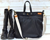 UNISEX WAXED Canvas BLACK  / Messenger bag / Tote / Diaper bag / Leather straps / Men messenger / Travel bag / Work bag