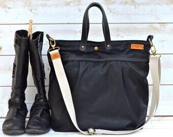 UNISEX WAXED Canvas BLACK  / Messenger bag / Tote / Diaper bag / Leather straps / Men messenger / Travel bag / Work bag
