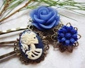 Set of 3, Periwinkle Bleu Flowers And Navy She Skull Hair Clips