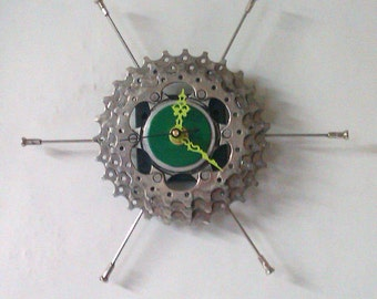 Recycled Triple Bicycle Sprocket & Spoke Wall Clock - Green