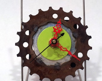 Recycled Bicycle Sprocket & Spoke Desk Clock - Rust and Green