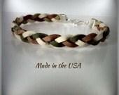 Camouflage braided leather bracelet, Friendship bracelet, Leather bracelet