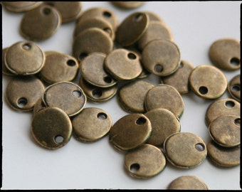 Tiny Antique Bronze Stamping Blank. 8mm. Stamping tag, round. So cute! For hand-stamped jewelry, initial charms. Blank tag. QTY 30