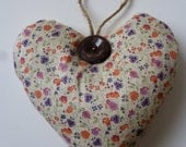lavender-filled heart in vintage fabric and button