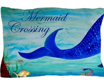 Mermaid Crossing Pillow Case from my original art